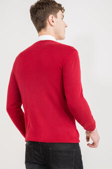 Viscose blend pullover with ribbing, Red, hi-res