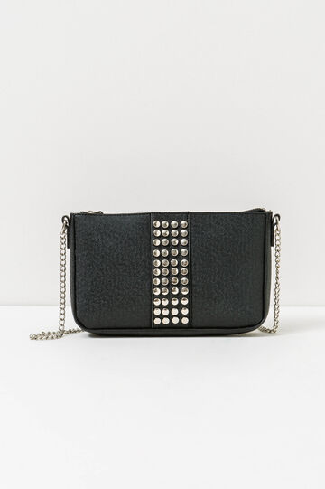 Shoulder bag with chain and studs, Black, hi-res