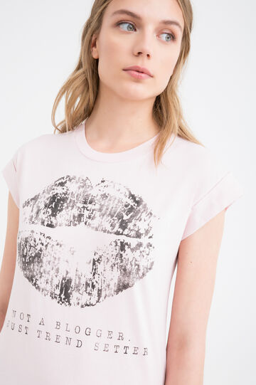 Printed T-shirt in 100% cotton, Pink, hi-res