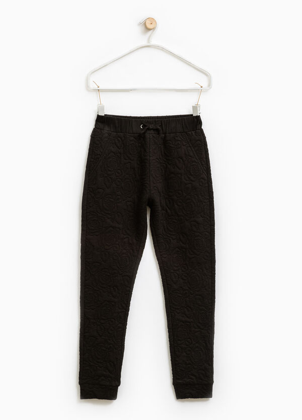 Cotton trousers with floral weave | OVS