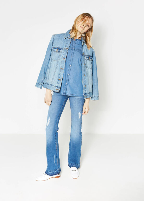 Denim shirt with flounces | OVS