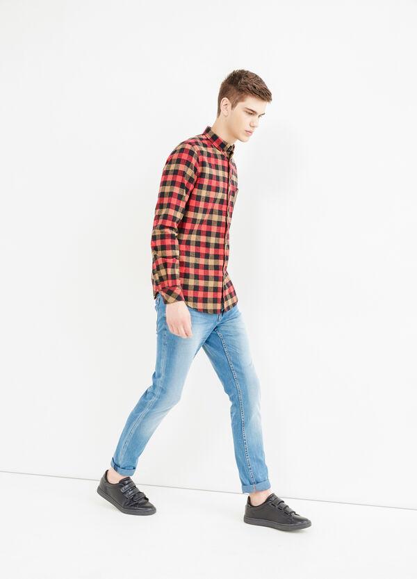 Camicia cotone a quadri con taschino | OVS