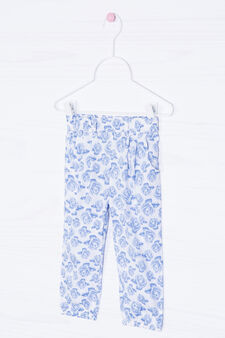 Trousers with flower print, White, hi-res