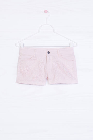 Shorts misto cotone stretch inserto, Rosa, hi-res