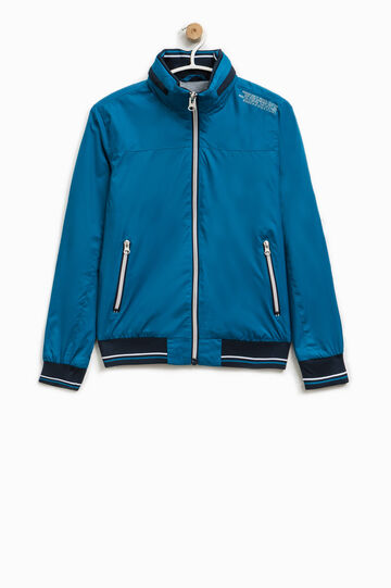 Jacket with pull-out hood and print, Cornflower Blue, hi-res