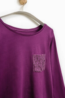 Smart Basic T-shirt with lace pocket, Purple, hi-res
