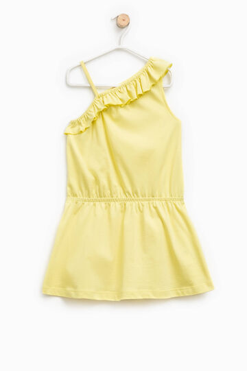 Dress with flounce and one shoulder strap, Yellow, hi-res