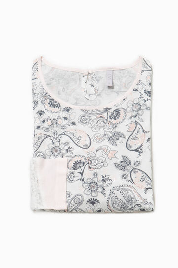 Pyjama top with all-over print, White/Blue, hi-res