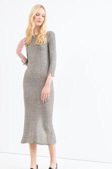 Viscose blend ribbed dress, Grey, hi-res
