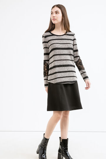 Long-sleeved T-shirt with striped pattern, Black/White, hi-res