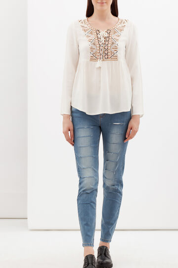 Blouse with beading and embroidery, White, hi-res