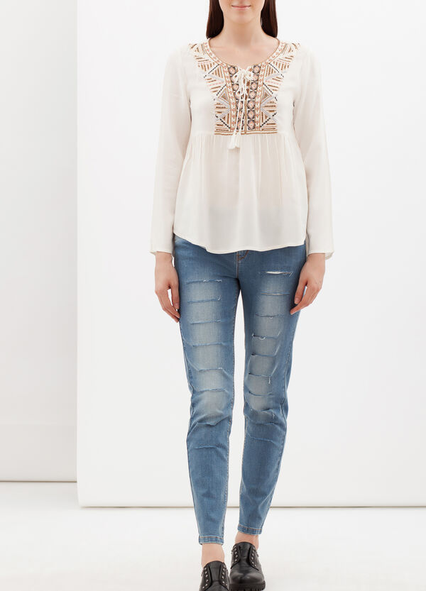 Blouse with beading and embroidery | OVS