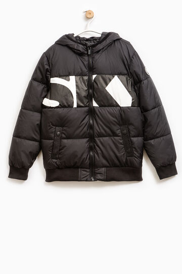 Down jacket with contrasting colour print, Black, hi-res