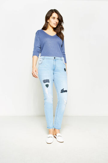 Jeans skinny fit stretch con paillettes Curvy, Lavaggio medio, hi-res