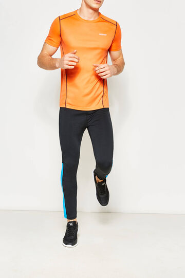 T-shirt with contrasting stitching, Orange, hi-res