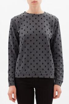 Flock printed sweatshirt, Black/Grey, hi-res