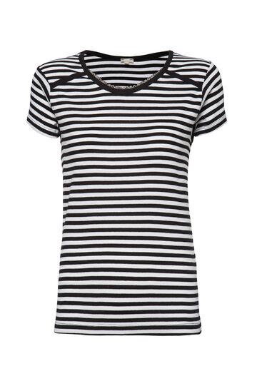 T-shirt puro cotone righe Smart Basic, Nero/Bianco, hi-res