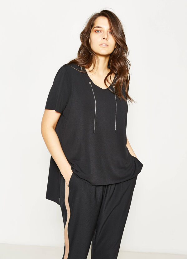 T-shirt stretch con catena Curvy | OVS