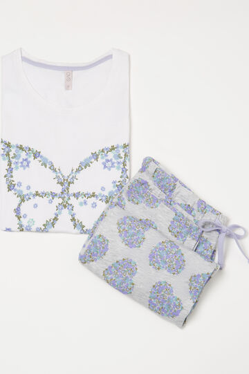 100% cotton floral pyjamas, White, hi-res