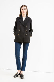 Double breasted, wool blend coat, Black, hi-res
