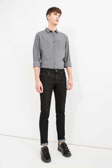 Slim-fit casual shirt with hounds' tooth pattern, Black/Grey, hi-res