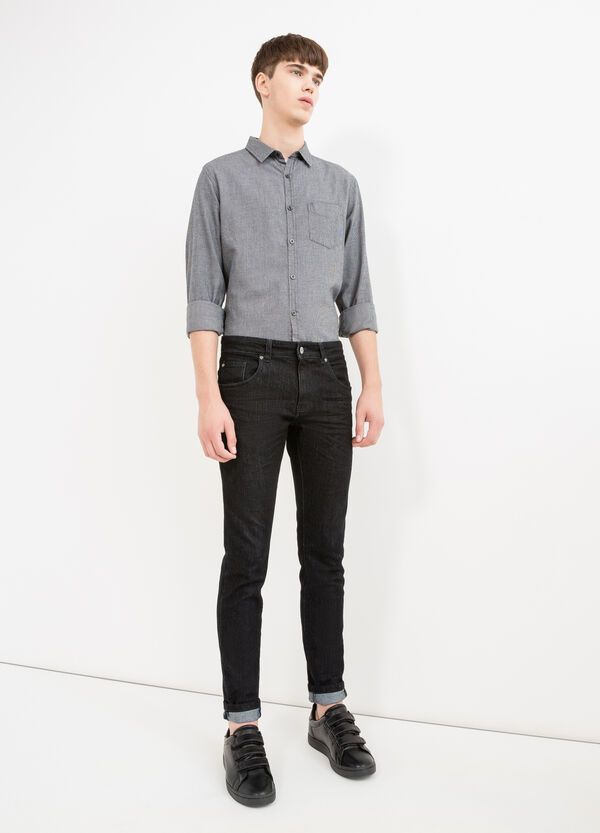 Slim-fit casual shirt with hounds' tooth pattern | OVS
