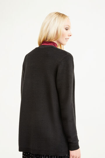 Cotton blend ribbed cardigan, Black, hi-res