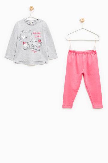 Pijama en algodón 100% con estampado de gatos, Gris/Rosa, hi-res