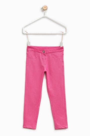 Pantalón en mezcla de algodón elástico, Rosa fucsia, hi-res