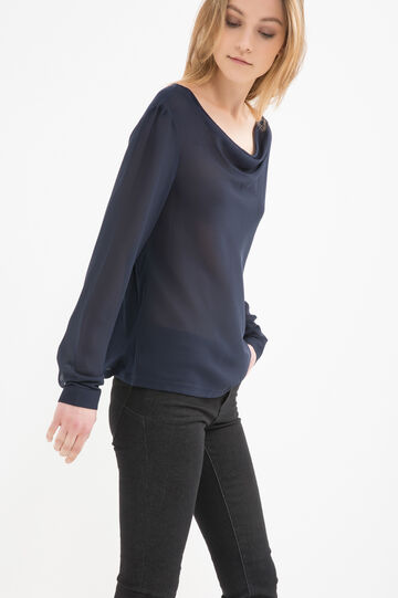 Blouse with long sleeves, Blue, hi-res
