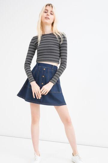 Stretch denim button skirt