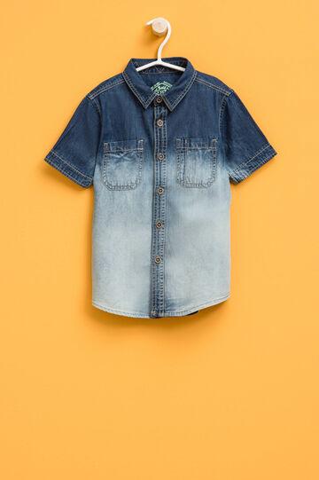 Denim shirt with degradé effect