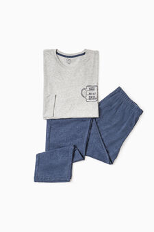 Cotton pyjamas with print on chest, Light Grey, hi-res