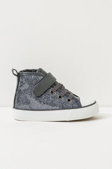 High-top, lace-up glitter sneakers, Grey, hi-res
