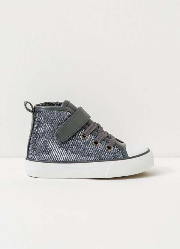 High-top, lace-up glitter sneakers | OVS