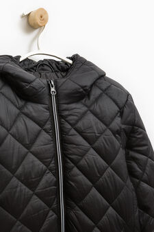 Quilted jacket with hood, Black, hi-res