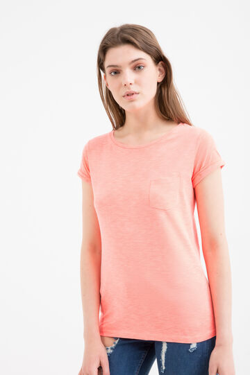 100% cotton T-shirt with pocket, Orange, hi-res