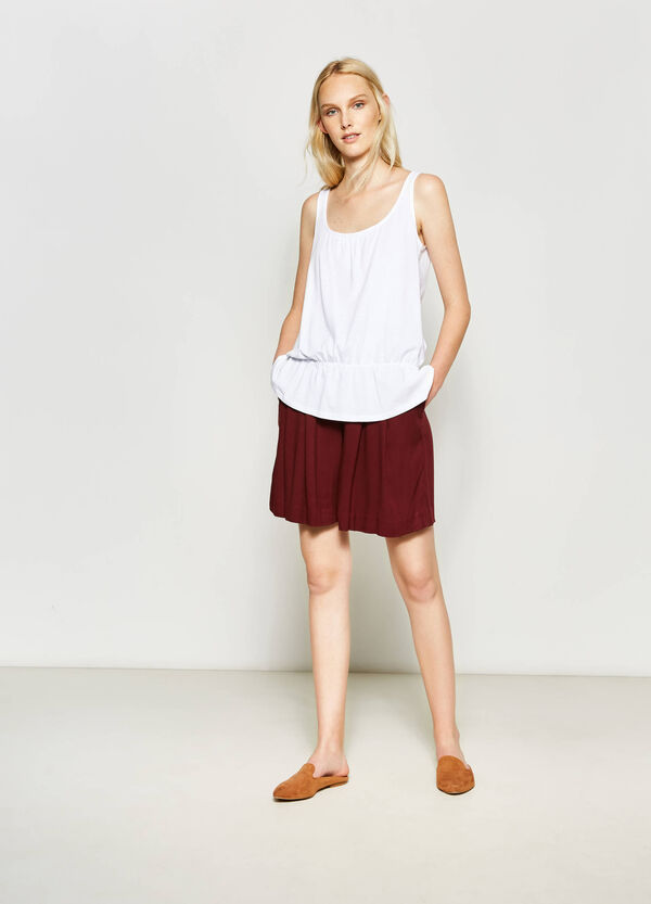 Top in cotone con fondo elasticato | OVS