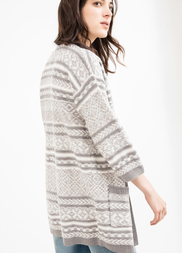 Long cardigan with patterned pockets | OVS