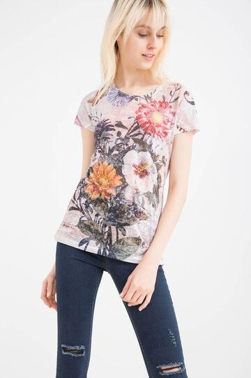 Patterned viscose blend T-shirt, Beige, hi-res