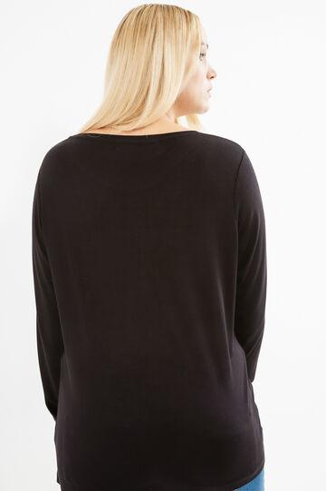 Curvy printed T-shirt in 100% viscose, Black, hi-res