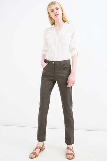Plain stretch trousers, Green, hi-res