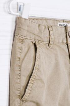 Stretch cotton cargo pants, Beige, hi-res