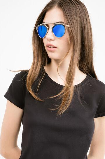T-shirt puro cotone tinta unita, Nero, hi-res