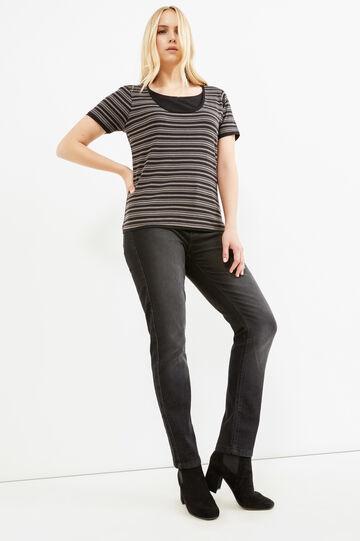 Curvy faux layered 100% cotton T-shirt, Black/Grey, hi-res