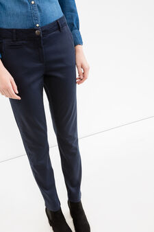Solid colour stretch chino trousers, Navy Blue, hi-res