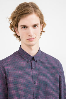 Slim-fit casual shirt with all-over print, Blue, hi-res