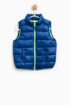 Gilet imbottito con zip a contrasto, Blu/Verde, hi-res