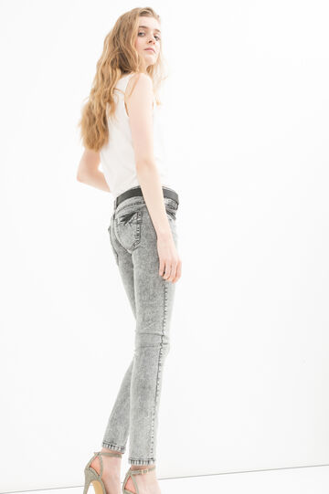 Skinny-fit, mis-dyed jeans