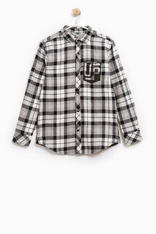 Checked cotton shirt, Black/White, hi-res